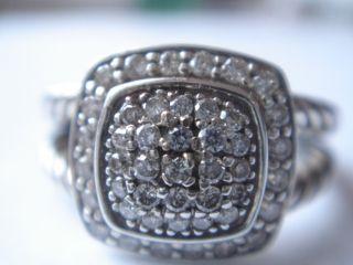 David Yurman Petite Albion Sterling Pave Diamond Ring