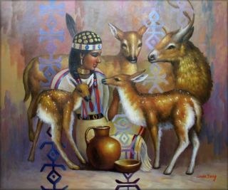 High Q Hand Painted Oil Painting Young Lady and Deer 24X20
