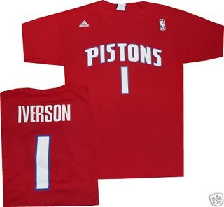 Allen Iverson Detroit Pistons Adid T Shirt Jersey XXL