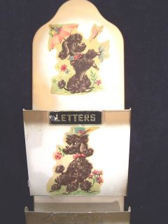 METAL BILLS ORGANIZER LETTER KEY HOLDER WALL DECORATION W POODLE DOGS