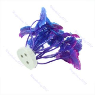 Aquarium Decorative Purple Plastic Plant Grass Fish Tank Landscape