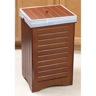 New Indoor Wooden Kitchen Garbage Trash Can Bin w Lid