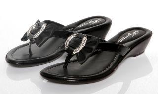 New Womens Dezario Cruz Black Pattern Thong Sandals Rhinestone Shoes