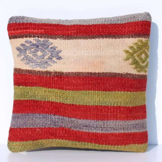 DECORATIVE THROW PILLOW COVER MADE FROM HANDWOVEN TURKISH CICIM KILIM