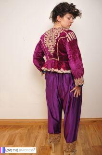 Devine Vintage Victorian Purple Velvet Gold Thread Embroidery Bead