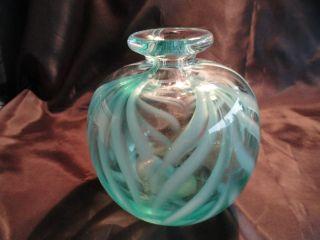 Signed DAVID R BOUTIN Studio Art Glass Swirl Vase Rainbow Glassworks