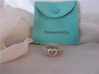 Tiffany Co Somerset Mesh Heart Sterling Silver Ring