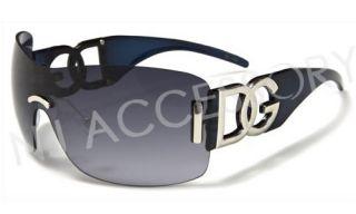 DG Oversized Sunglasses Rimless Hot Womens Fashion Shades Blue Frame