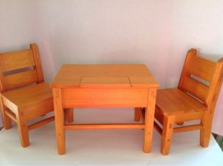 American Girl Doll Josefina Wood Table and 2 Chairs Great Condition