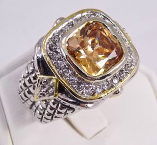 MX Designer Inspired Sterling Silver Diamonique Citrine Ring Size 7 75