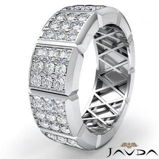 90 Diamond Heavy Men Solid Wedding Band Ring 14k White Gold S11