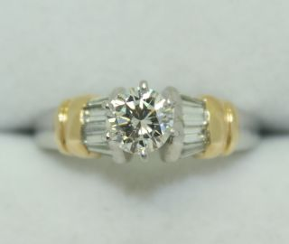 18K Gold $9500 Engagement Ring w Papers Diamond Round Center