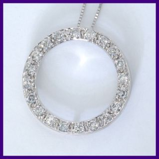 White Gold Round Diamond Eternity Circle Pendant Necklace 40ct