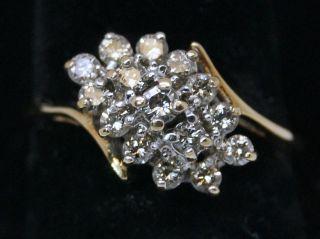 ctw Half Carat Diamond Cluster 14K Yellow Gold Ring Size 6 LQQK