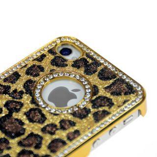 Bling Diamond Leopard Chrome Hard Case Cover For iPhone 4 4S 4G