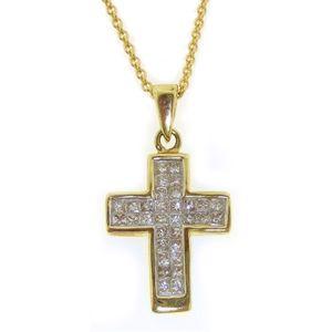 14k Yellow Gold Princess Diamond Cross Pendant w Chain 0 25 CTW