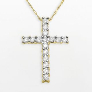 14K Yellow Gold Vintage 0.50Ctw Natural Diamond Cross Pendant Necklace