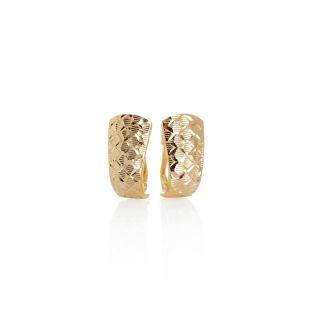 Technibond Diamond Cut Huggie Earrings 14K Yellow Gold Clad Sterling
