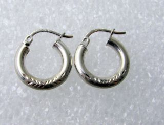 3mm 1 2 14k White Gold Diamond Cut Hoop Earrings