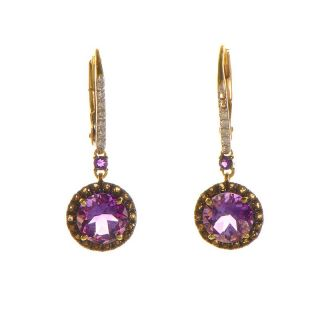 14K Yellow Gold Amethyst & Multi Diamond Drop Earrings