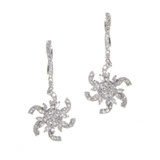 18K White Gold Diamond Pinwheel Drop Earrings