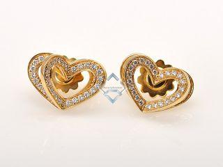 Asprey Beautiful 18K Yellow Gold Diamond Heart Earrings