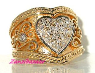 14k Yellow Gold Diamond Etruscan Heart Design Ring 10 33g