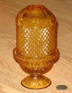 VIKING GLASS amber DIAMOND POINT candle holder FAIRY LAMP light hand