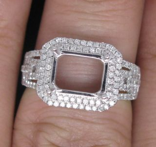 7x9mm Solid 14kt White Gold Natural vs Diamond Semi Mount Ring
