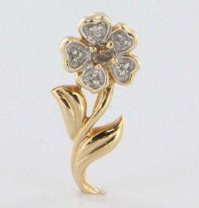 Vintage 14k Yellow Gold Diamond Flower Pendant Necklace Estate Jewelry