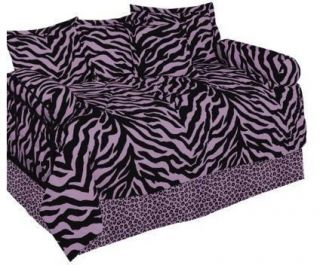 Black Zebra Pattern Animal Print Daybed Comforter Set Twin Size