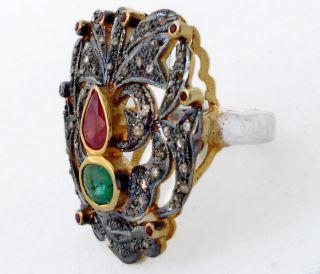 Ruby Emerald Estate Diamond Fine Gold Sterling Silver Ring 1287
