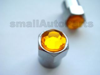 Yellow Crystal Diamond Tire Wheel Stem VALVE CAPS for Motorcycle