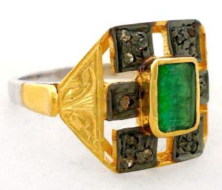 NATURAL GREEN EMERALD DIAMOND GOLD 925 STERLING SILVER RING Sz 9 A1530