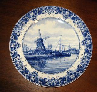 Antique Delft Delftsblauw Large Plate Charger Blue White Dutch Holland