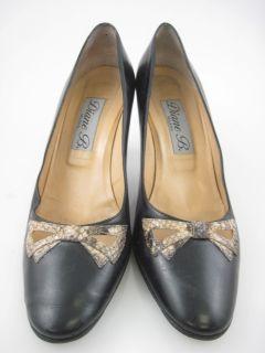 Diane B Black Leather Python Detail Heels Pumps Sz 9 5