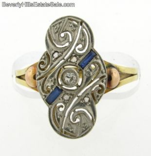Platinum Diamonds Sapphires 18K Gold Art Deco Ring