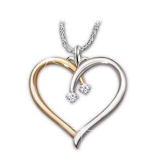 Love Always Heart Shaped Diamond Pendant Necklace Romantic Jewelry