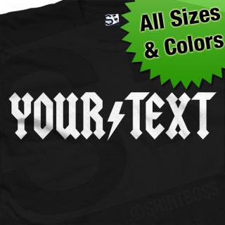 Custom AC DC Styled T Shirt Personalized ACDC Logo Font in All Colors