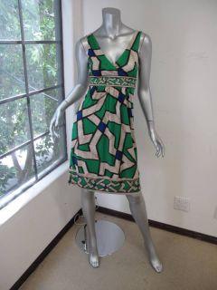 Diane Von Furstenberg Green Blue Beige Printed V Neck Sleeveless