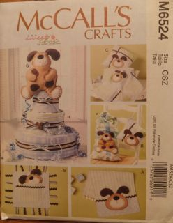 M6524 Infant baby diaper cake taggie burp cloth sewing pattern NEW DOG