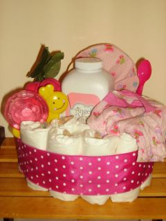 Diaper Cake Pink Caterpillar Butterfly Design Onsie Hat Set