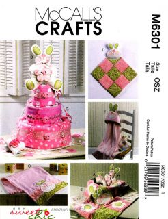 McCalls Pattern M6301 Baby Burp Cloth Blankie Diaper Cake Bunny Toy