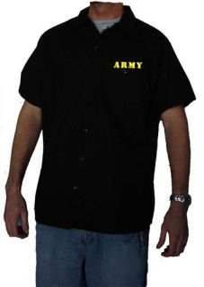 Dickies Army Work Shirt Brand New Short Sleeve Button Up Black
