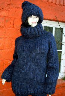 zu 100% hangestrickter dicker Kid Mohair Pullover / Sweater und warme