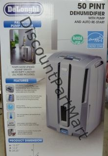 NEW DeLonghi 50 PINT Dehumidifier HEAVY DUTY Pump System AUTO RESTART
