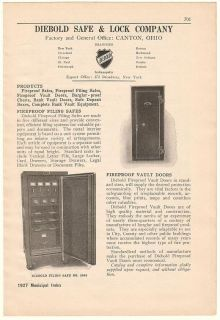 1927 Diebold Safe Lock Co Fireproof Filing Safes Ad