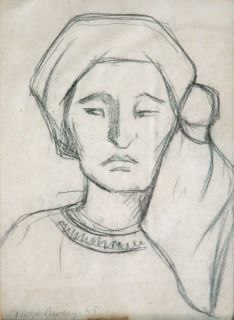 Diego Rivera Graphite Drawing on Paper Mujer Con Rebozo 1947