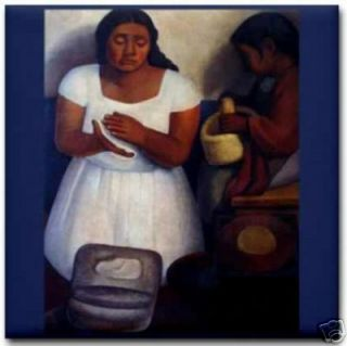 Diego Rivera Tortilla Maker Mexican Art Ceramic Tile