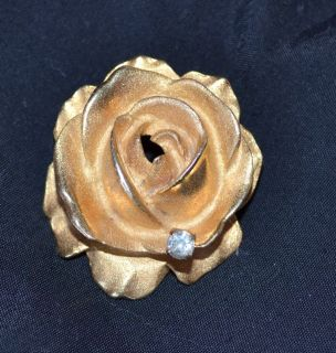DeNicola Brooch Rose Flower Rhinestone Vintage Costume Jewelry